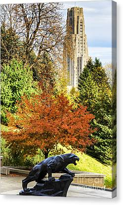 On The Move Canvas Print - Pitt Panther And Cathedral Of Learning by Thomas R Fletcher