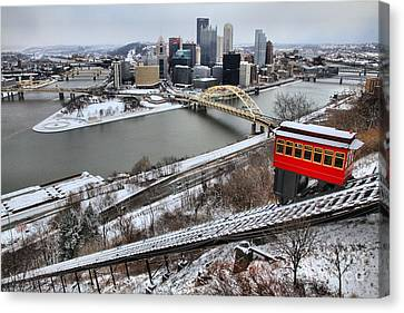 Pittsburgh Duquesne Incline Winter Canvas Print by Adam Jewell