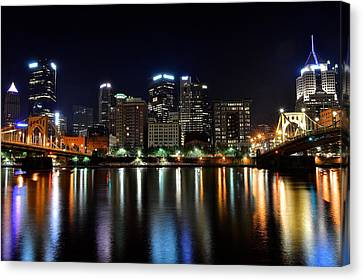 Pittsburgh At 2am Canvas Print by Frozen in Time Fine Art Photography