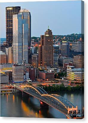 Upmc Canvas Print - Pittsburgh At Dusk by Frozen in Time Fine Art Photography