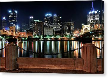 Pittsburgh At Night Canvas Print by Frozen in Time Fine Art Photography