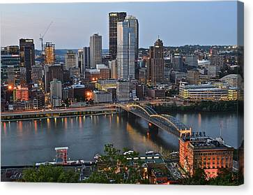 Pittsburgh Before Sunset Canvas Print by Frozen in Time Fine Art Photography