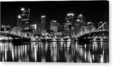 Pittsburgh Black And White Panorama Canvas Print by Frozen in Time Fine Art Photography