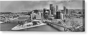 Pittsburgh Black And White Winter Panorama Canvas Print by Adam Jewell
