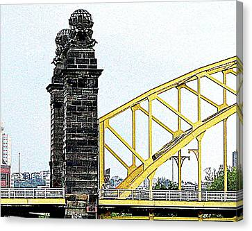 Canvas Print featuring the photograph 16th Street Bridge, Pittsburgh Pa by Mary Beth Landis