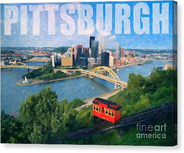 Pittsburgh Digital Painting Canvas Print by Sharon Dominick