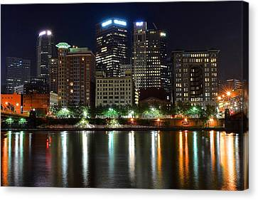 Pittsburgh From Below Canvas Print by Frozen in Time Fine Art Photography