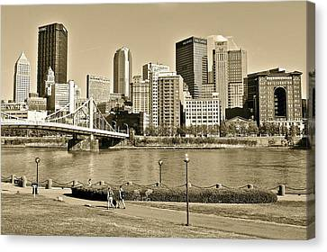 Pittsburgh In Sepia Canvas Print by Frozen in Time Fine Art Photography