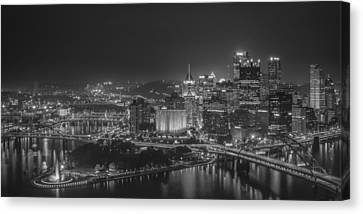 Pittsburgh Night Black And White Canvas Print by Brian Young
