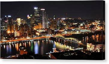 Pittsburgh Night Panorama Canvas Print by Frozen in Time Fine Art Photography