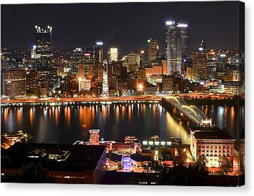 Pittsburgh Over The Monongahela Canvas Print by Frozen in Time Fine Art Photography