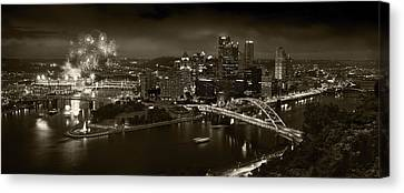 Pittsburgh P A  B W Canvas Print by Steve Gadomski