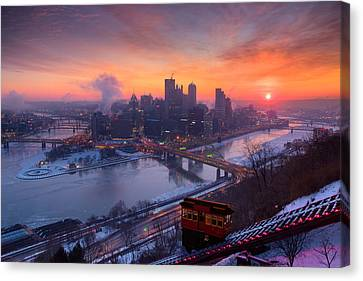 Pittsburgh Skyline Winter 2 Canvas Print