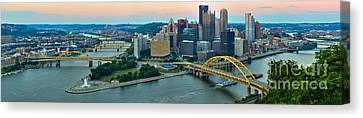 Pittsburgh Panorama At Dusk Canvas Print by Adam Jewell