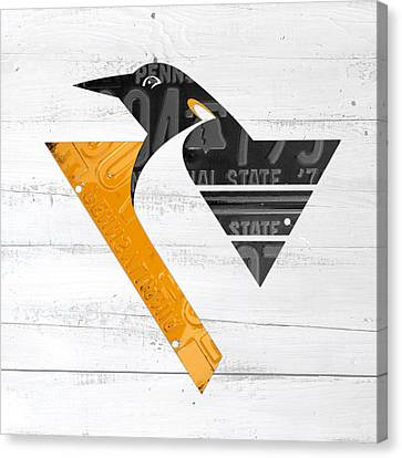 Pittsburgh Penguins Hockey Team Retro Logo Vintage Recycled Pennsylvania License Plate Art Canvas Print by Design Turnpike