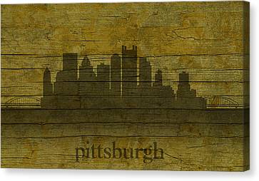 Pittsburgh Pennsylvania City Skyline Silhouette Distressed On Worn Peeling Wood Canvas Print by Design Turnpike