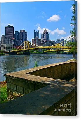 River View Canvas Print - Pittsburgh Pennsylvania Skyline And Bridges As Seen From The North Shore by Amy Cicconi