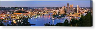 Pittsburgh Pennsylvania Skyline At Dusk Sunset Extra Wide Panorama Canvas Print by Jon Holiday