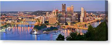 Pittsburgh Pennsylvania Skyline At Dusk Sunset Panorama Canvas Print by Jon Holiday