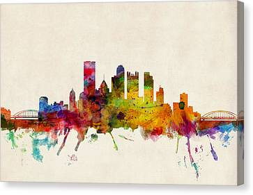 Silhouettes Canvas Print - Pittsburgh Pennsylvania Skyline by Michael Tompsett