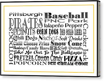 Pittsburgh Pirates Canvas Print - Pittsburgh Pirates Baseball Game Day Food 3 by Andee Design