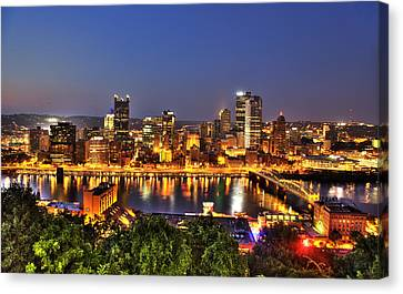 Pittsburgh Skyline At Night Canvas Print by Shawn Everhart