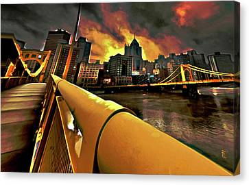 Oil On Canvas Print - Pittsburgh Skyline by  Fli Art