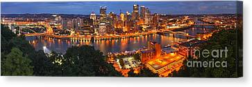 Pittsburgh Skyline Panorama Canvas Print by Adam Jewell