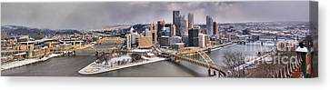 Pittsburgh Snowy Panorama Canvas Print by Adam Jewell