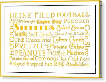 Pittsburgh Steelers Game Day Food 3 Canvas Print by Andee Design