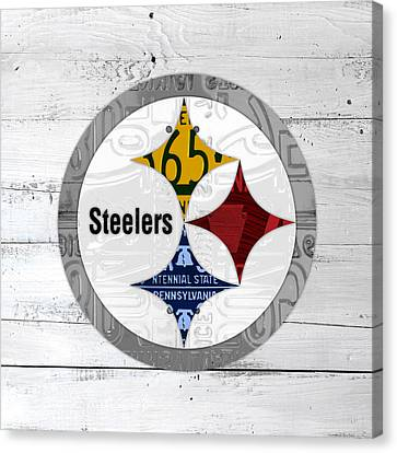 Steelers Canvas Print - Pittsburgh Steelers Football Team Retro Logo Pennsylvania License Plate Art by Design Turnpike