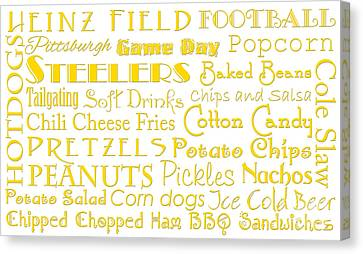 Pittsburgh Steelers Game Day Food 1 Canvas Print by Andee Design