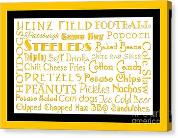 Pittsburgh Steelers Game Day Food 2 Canvas Print by Andee Design
