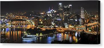 Pittsburgh Three Rivers Panorama Canvas Print by Frozen in Time Fine Art Photography