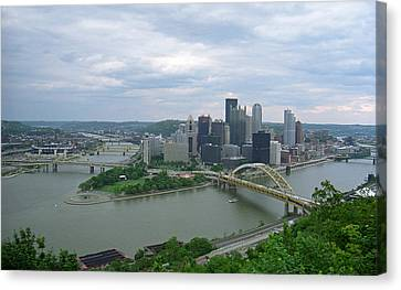 Pittsburgh - View Of The Three Rivers Canvas Print by Frank Romeo