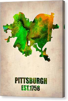 Pittsburgh Watercolor Map Canvas Print by Naxart Studio