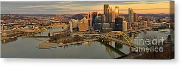 Pittsburgh Winter Sunset Panorama Canvas Print by Adam Jewell