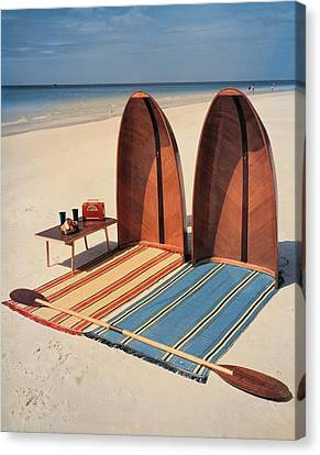Watercraft Canvas Print - Pixie Collapsible Boat On The Beach by Lois and Joe Steinmetz