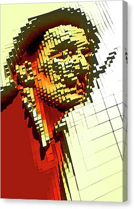 Pixilated Face Canvas Print by Victor Habbick Visions