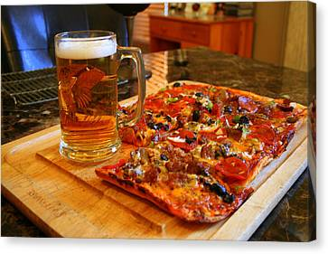 Pizza And Beer Canvas Print by Kay Novy