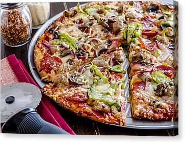 Fast Food Canvas Print - Pizza For Dinner by Teri Virbickis