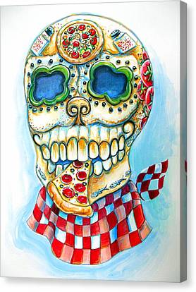 Pizza Sugar Skull Canvas Print by Heather Calderon
