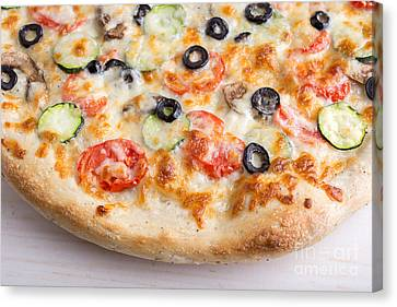 Pizza With Cheese And Vegetables Canvas Print by Edward Fielding