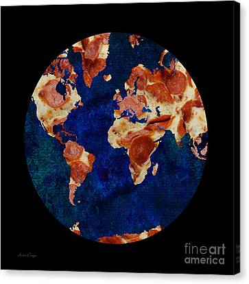 Pizza World Canvas Print by Andee Design