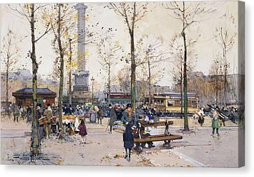 Routine Canvas Print - Place De La Bastille Paris by Eugene Galien-Laloue