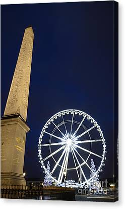 Place De La Concorde And The Ferris Wheel At Christmas Time Canvas Print by Sami Sarkis