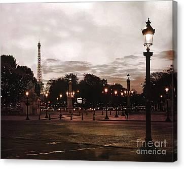 Paris Place De La Concorde Sepia Art - Paris Eiffel Tower View Place De La Concorde Street Lamps  Canvas Print by Kathy Fornal
