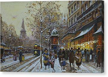 Place De La Republique Paris Canvas Print by Eugene Galien-Laloue