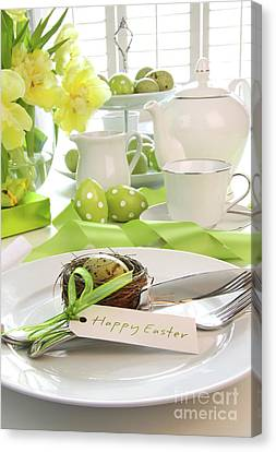 Place Setting With Place Card Set For Easter Canvas Print by Sandra Cunningham