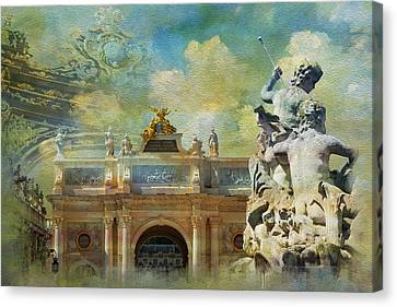 Place Stanislas Place De La Carriere And Place Dalliance In Nancy Canvas Print by Catf